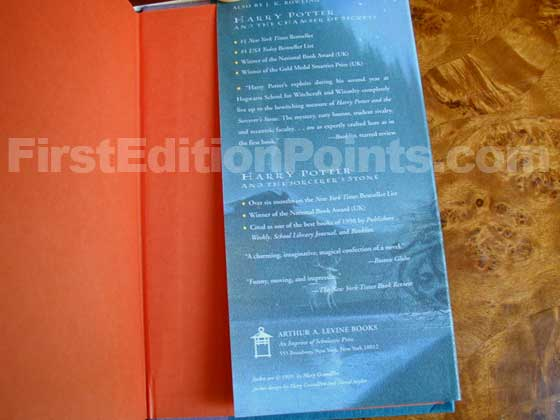 Picture of the back dust jacket flap for the first edition of Harry Potter and the