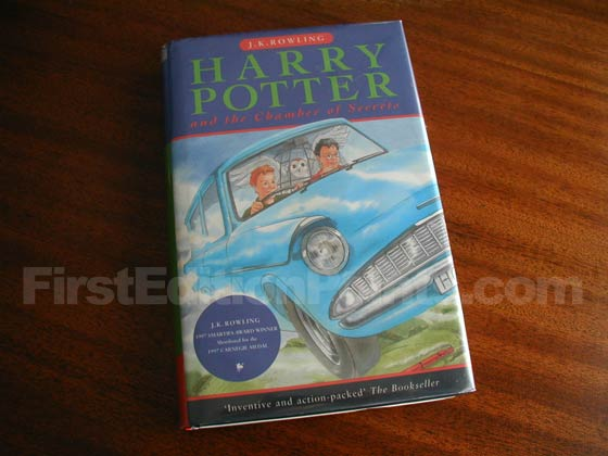 Picture of the 1998 first edition dust jacket for Harry Potter and the Chamber of