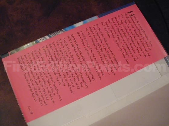 Picture of dust jacket where original £10.99 price is found for Harry Potter and