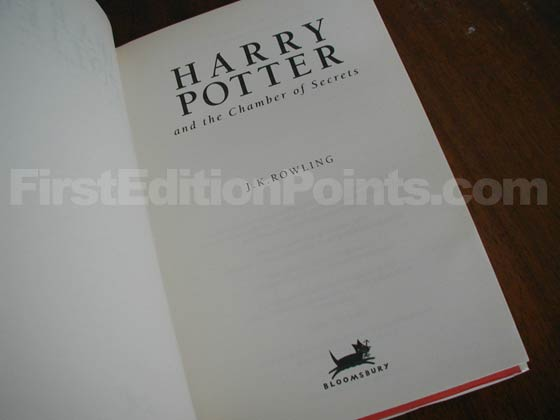 Picture of the first edition title page for Harry Potter and the Chamber of Secrets.