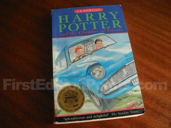 This is the front cover for the first paperback edition of Harry Potter and the Chamber