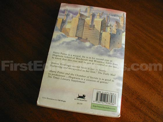 This is the back cover of the first paperback edition of Harry Potter and the Chamber of