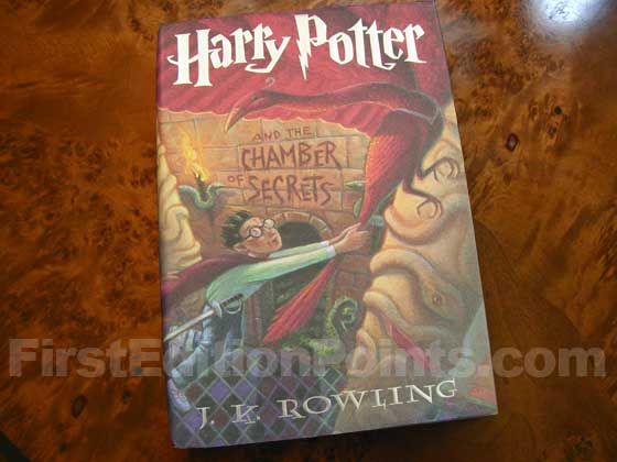Picture of the 1999 first edition dust jacket for Harry Potter and the Chamber of Secrets