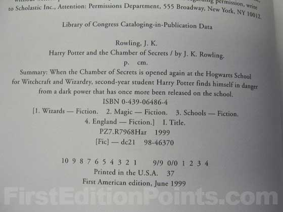 Picture of the first edition copyright page for Harry Potter and the Chamber of Secrets