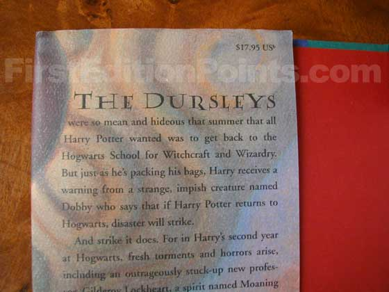Picture of dust jacket where original $17.95 price is found for Harry Potter and the