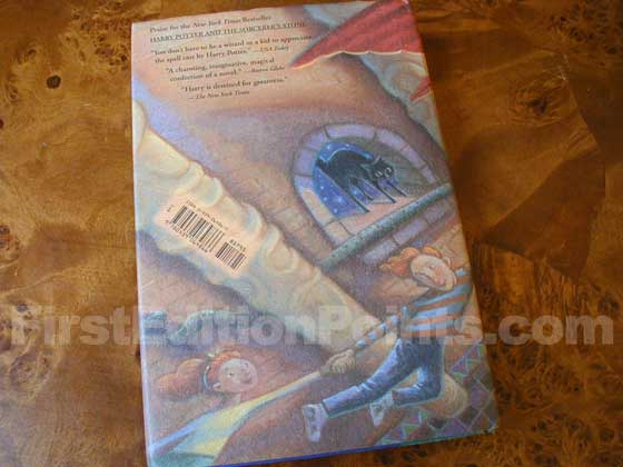 Picture of the back dust jacket for the first edition of Harry Potter and the Chamber of