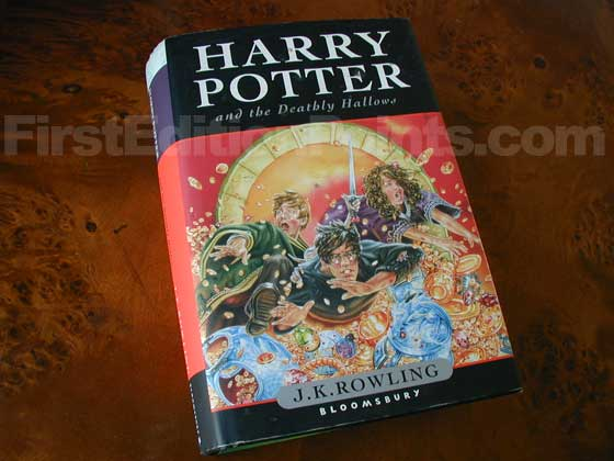 Picture of the 2007 first edition dust jacket for Harry Potter and the Deathly Hal