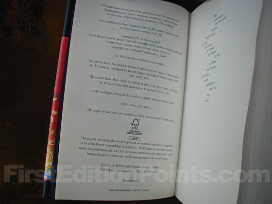 Picture of the first edition copyright page for Harry Potter and the Deathly Hallo