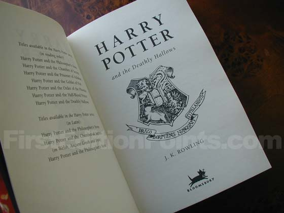 Picture of the first edition title page for Harry Potter and the Deathly Hallows.