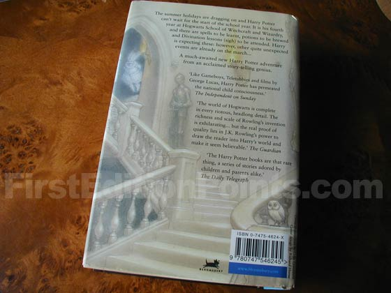 Picture of the back dust jacket for the first edition of Harry Potter and the Goblet of