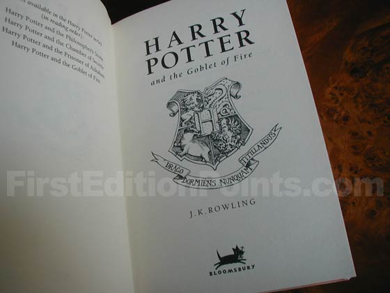 Picture of the first edition title page for Harry Potter and the Goblet of Fire.