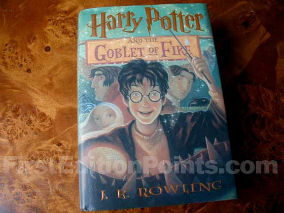 Picture of the 2000 first edition dust jacket for Harry Potter and the Goblet of Fire
