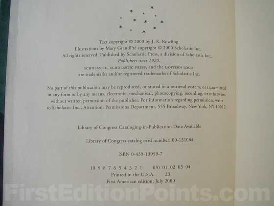 Picture of the first edition copyright page for Harry Potter and the Goblet of Fire