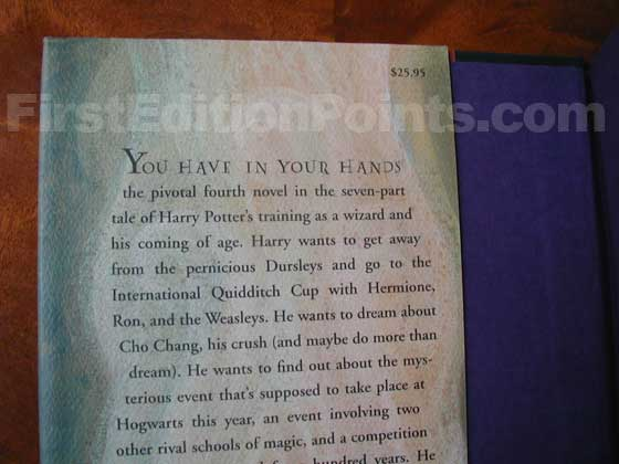 Picture of dust jacket where original $25.95 price is found for Harry Potter and the