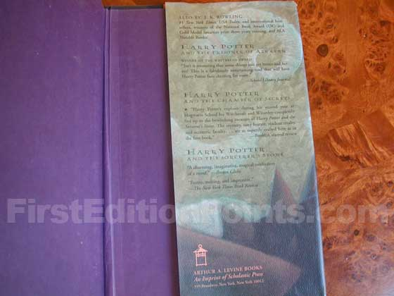 Picture of the back dust jacket flap for the first edition of Harry Potter and the Goblet