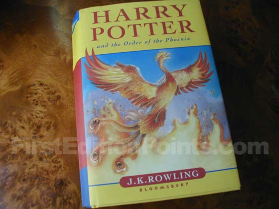 Picture of the 2003 first edition dust jacket for Harry Potter and the Order of the