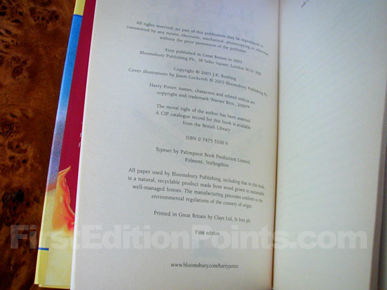 Picture of the first edition copyright page for Harry Potter and the Order of the