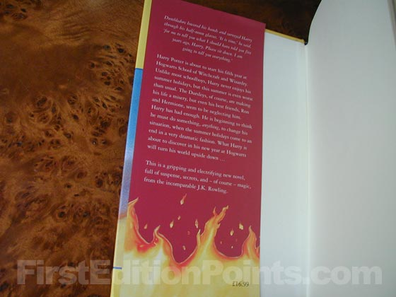 Picture of dust jacket where original £16.99 price is found for Harry Potter and