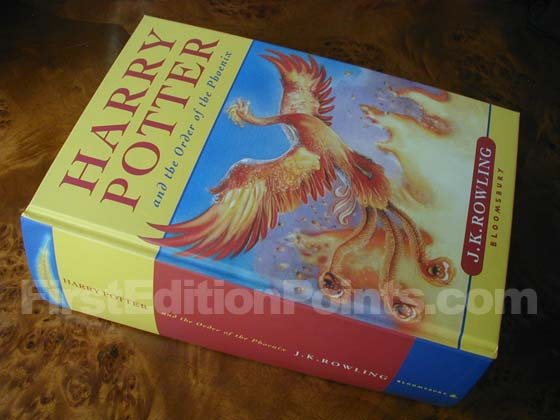Picture of the first edition Bloomsbury boards for Harry Potter and the Order of the