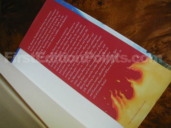 Picture of the back dust jacket flap for the first edition of Harry Potter and the Order