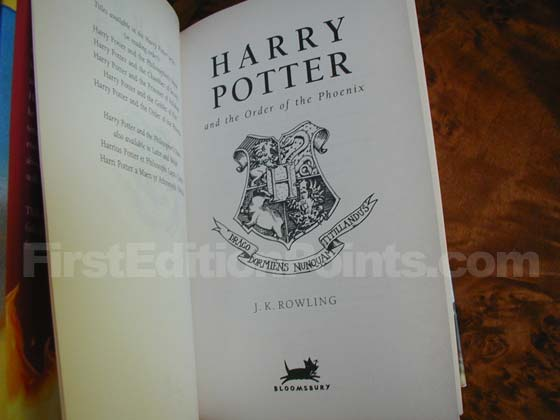 Picture of the first edition title page for Harry Potter and the Order of the Phoenix.