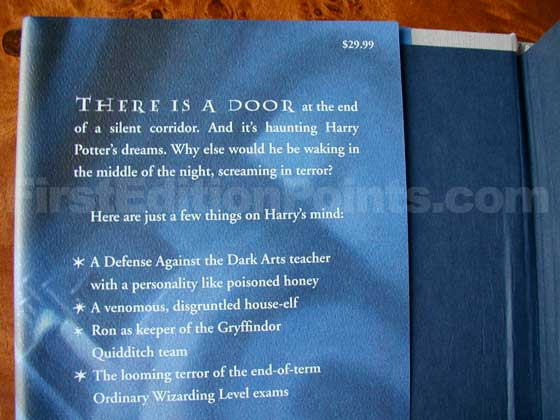 Picture of dust jacket where original $29.99 price is found for Harry Potter and the