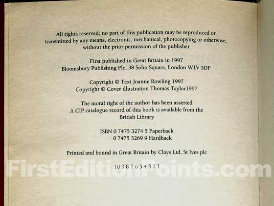 The copyright page for the hardcover and paperback first editions are identical.