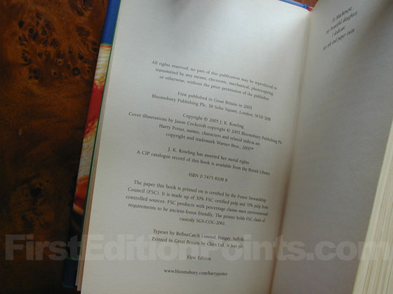 Picture of the first edition copyright page for Harry Potter and the Half-Blood Prince.