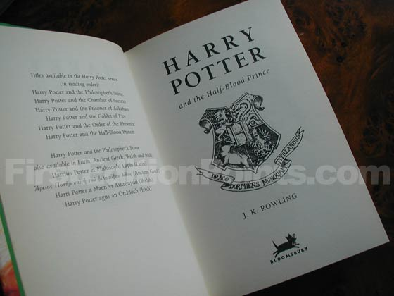 Picture of the first edition title page for Harry Potter and the Half-Blood Prince.