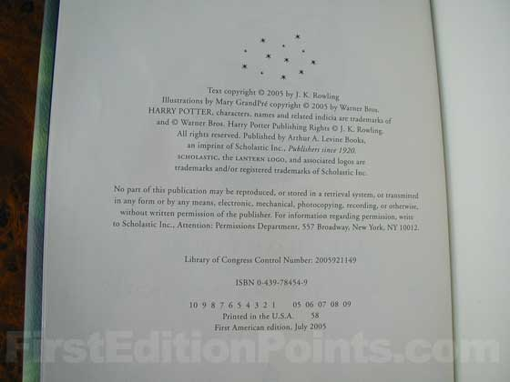 Picture of the first edition copyright page for Harry Potter and the Half-Blood Prince