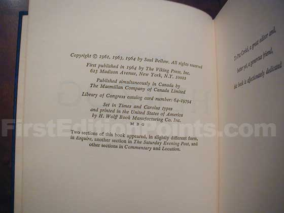 Picture of the first edition copyright page for Herzog.