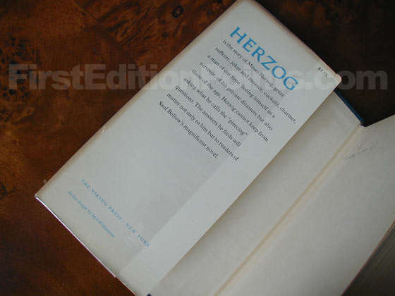 Picture of dust jacket where original $5.75 price is found for Herzog.