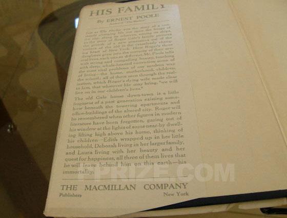 Picture of the front flap of His Family. Photo courtesy of James Cahill/Rare Books, In
