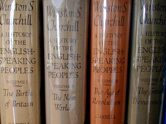 Picture of the first edition four volumes of A History of the English-Speaking Peo