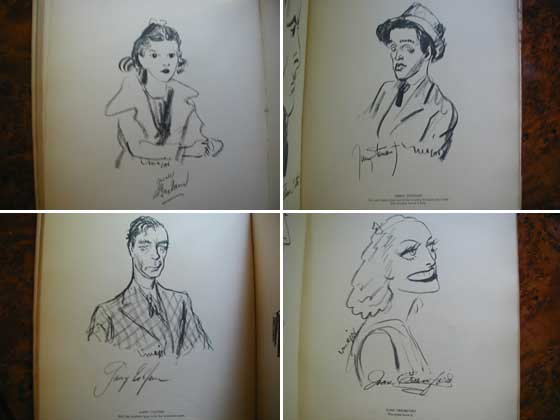 Caricatures of Judy Garland, Jimmy Stewart, Gary Cooper, and Joan Crawford
