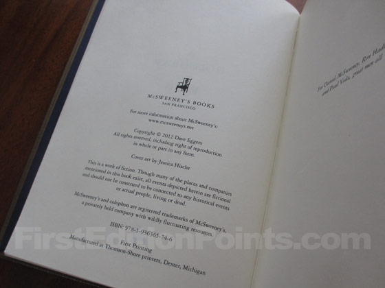 Picture of the first edition copyright page for A Hologram For The King.