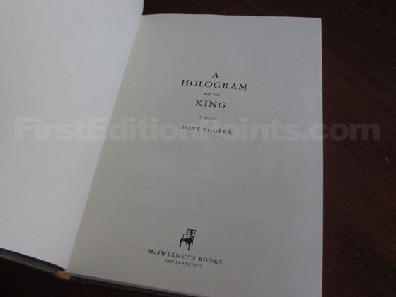 Picture of the title page from the first edition of A Hologram For The King.