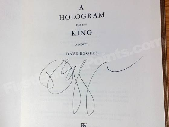 Dave Egger's signature on a first edition of A Hologram For The King.