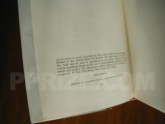 Picture of the first edition copyright page for House Made of Dawn.