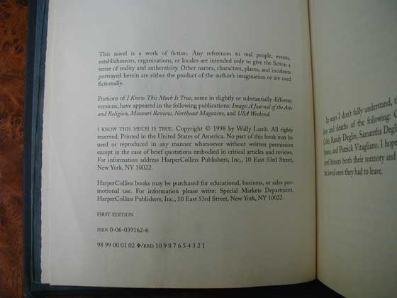 Picture of the first edition copyright page for I Know This Much Is True.
