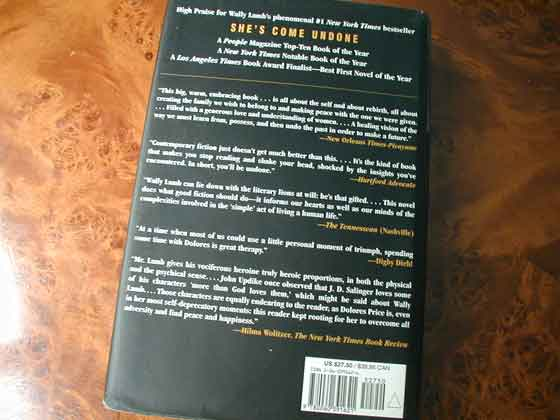 Picture of the back dust jacket for the first edition of I Know This Much Is True.