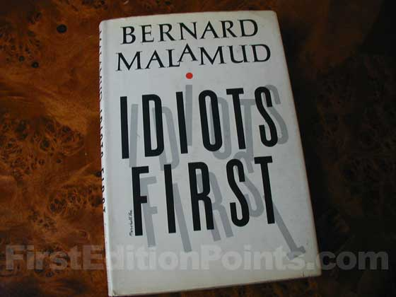 Picture of the 1963 first edition dust jacket for Idiots First.