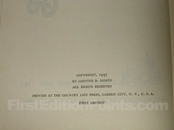 Picture of the first edition copyright page for If He Hollers Let Him Go.