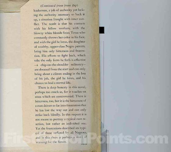Picture of the back dust jacket flap for the first edition of If He Hollers Let Him Go.