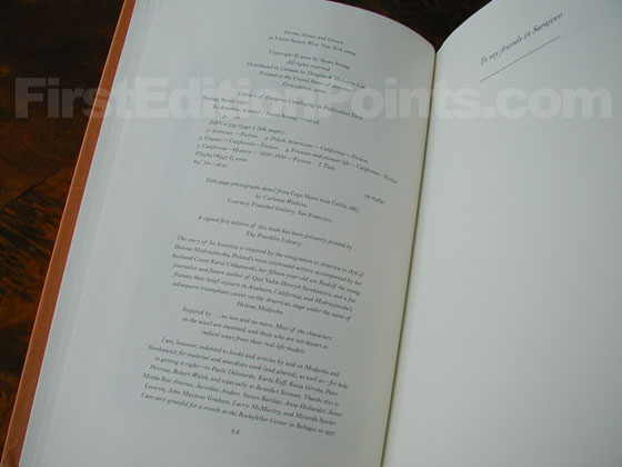 Picture of the first trade edition copyright page for In America.