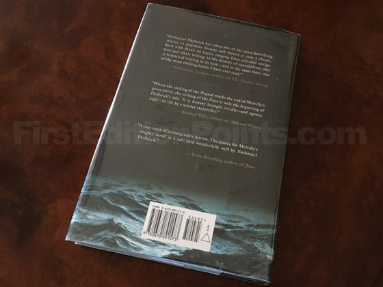 Picture of the back dust jacket for the first edition of In the Heart of the Sea.