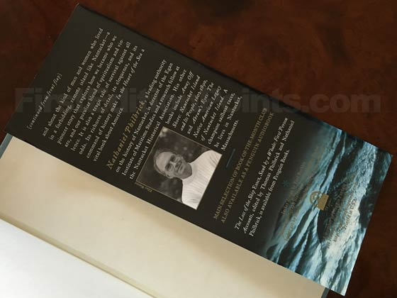 Picture of the back dust jacket flap for the first edition of In the Heart of the Sea.
