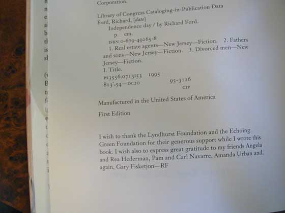 Picture of the first edition copyright page for Independence Day.