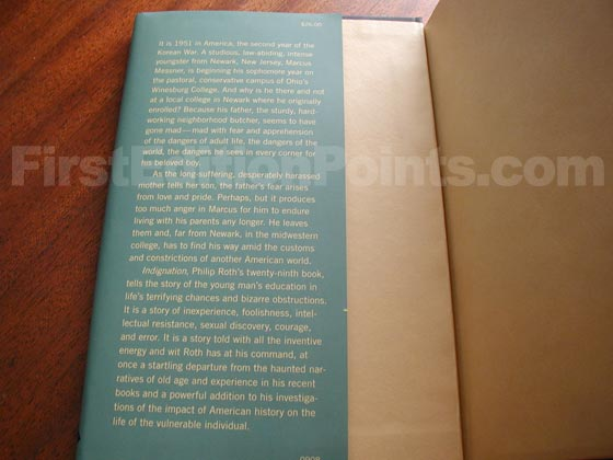 Picture of dust jacket where original $26.00 price is found for Indignation.
