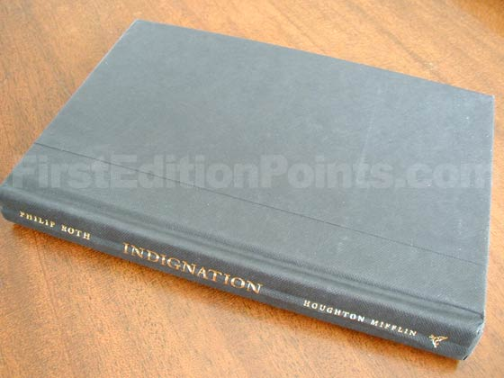 Picture of the first edition Houghton Mifflin Company boards for Indignation.